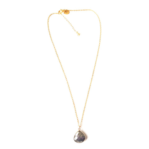 Image of Pyrite Faceted Drop Pendant Necklace in Gold