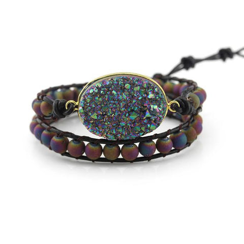 Image of Rainbow Druzy and Rainbow Druzy Beads Double Wrap Bracelet on Dark Brown Leather