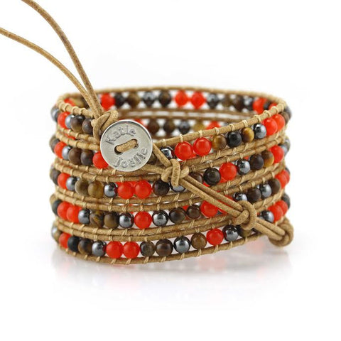 Image of Red Coral, Tiger's Eye and Hematite on Natural Leather Wrap Bracelet