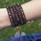 Red Crystals on Black Leather Wrap Bracelet
