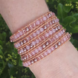 Rose Gold Pearl and Rose Quartz on Natural Leather Wrap Bracelet