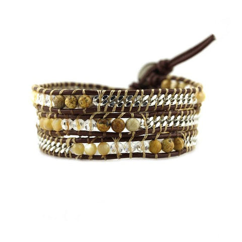 Image of Shell, Crystal, and Stone with Silver Chain on Brown Leather Wrap Bracelet