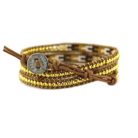 Shell and Gold with Miyuki Glass Seed Beads on Natural Leather Wrap Bracelet