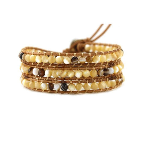 Image of Shell and Brown Agate on Natural Leather Wrap Bracelet