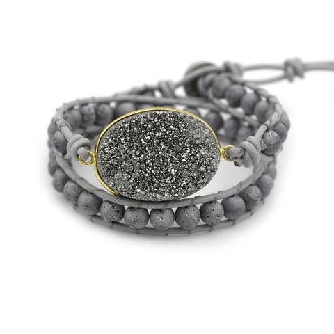 Silver Druzy and Silver Druzy Beads Double Wrap Bracelet on Grey Leather