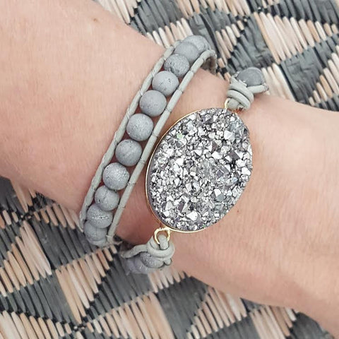 Image of Silver Druzy and Silver Druzy Beads Double Wrap Bracelet on Grey Leather