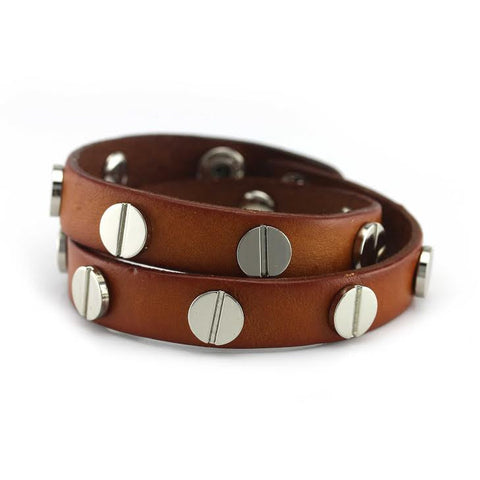 Image of Silver Studded Cognac Leather Double Wrap Bracelet