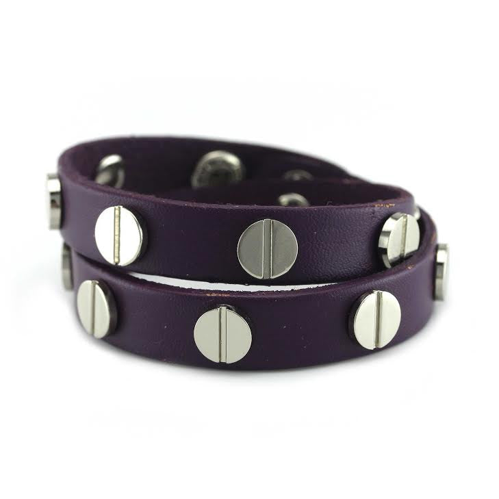 Silver Studded Purple Leather Double Wrap Bracelet