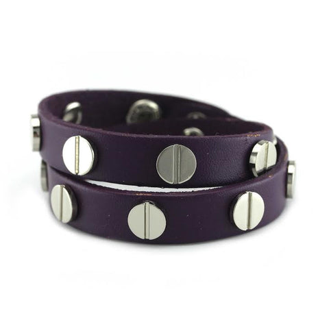 Image of Silver Studded Purple Leather Double Wrap Bracelet