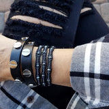 Gunmetal Scalloped Miyuki Glass Sead Beads on Black Leather Wrap Bracelet
