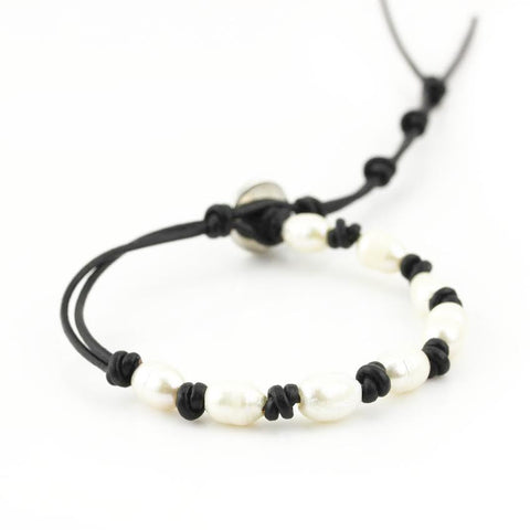 Freshwater Pearls on Black Single Leather Wrap Bracelet