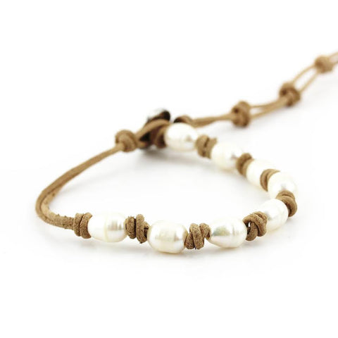 Image of Freshwater Pearls on Natural Single Leather Wrap Bracelet