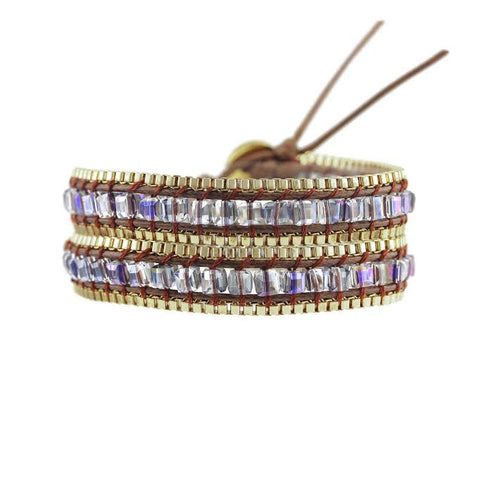 Image of Square Cut AB Glass Crystal with Gold Chain on Brown Vegan Cord Wrap Bracelet
