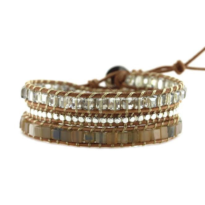 Square Cut Glass Crystals, Cubed Agate and Silver Nuggets on Natural Leather Wrap Bracelet