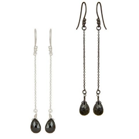 Image of Hematite Sterling Silver Chain Dangle Earrings