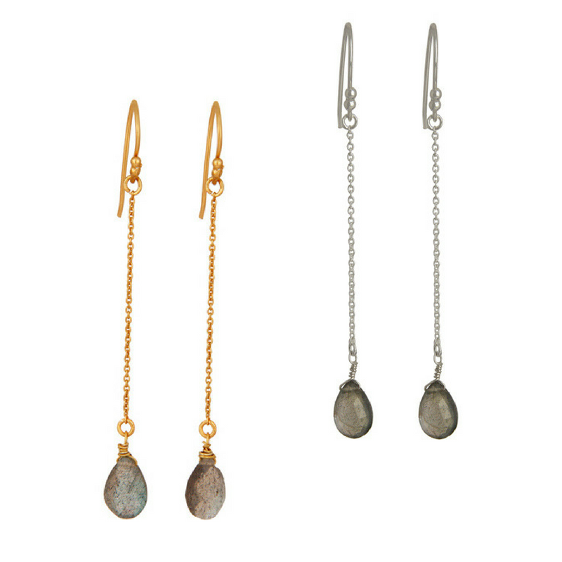 Labradorite Sterling Silver Chain Dangle Earrings in Gold or Silver