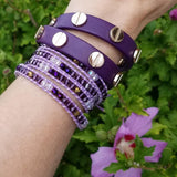 Purple Mixed Crystals on Purple Leather Wrap Bracelet