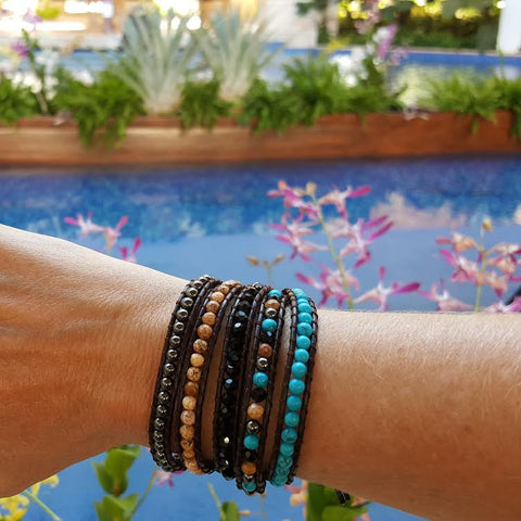 Image of Turquoise, Crystal, Stone, and Hematite on Dark Brown Leather Wrap Bracelet