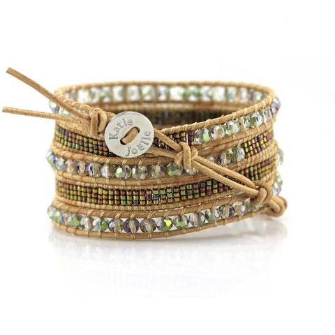 Image of Transparent Green Crystals with Miyuki Glass Seed Beads on Natural Leather Wrap Bracelet