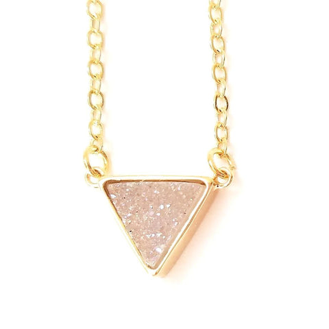 Druzy Triangle Pendant Necklace