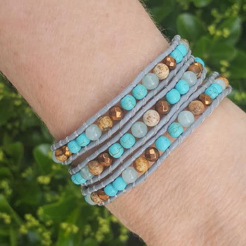 Image of Turquoise, Amazonite, Jasper and Bronze on Grey Leather Wrap Bracelet