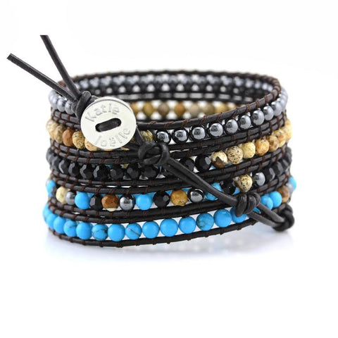 Image of Turquoise, Crystal, Stone, and Hematite Wrap Bracelet