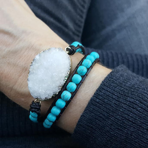 White Druzy and Turquoise Beads Double Wrap Bracelet on Dark Brown Leather