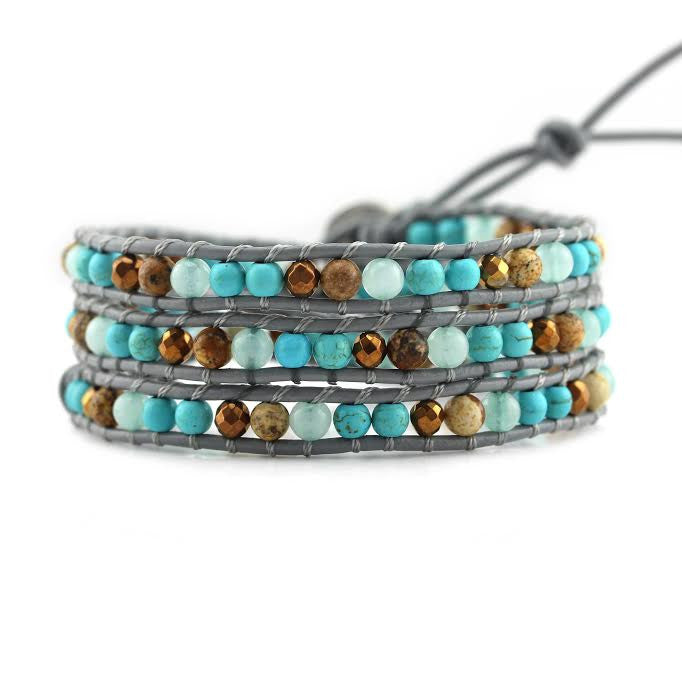 Turquoise, Amazonite, Jasper and Bronze on Grey Leather Wrap Bracelet