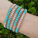 Turquoise and White Agate on Natural Leather Wrap Bracelet