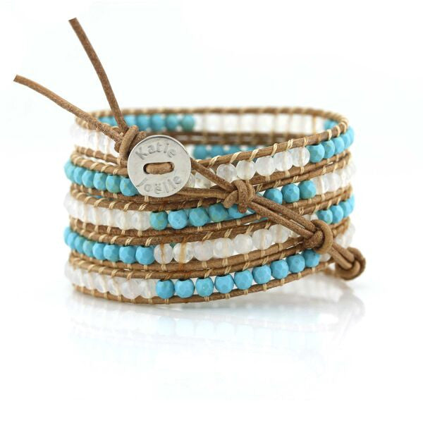 Turquoise and White Agate Five Wrap on Natural Leather