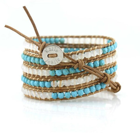 Image of Turquoise and White Agate Five Wrap on Natural Leather