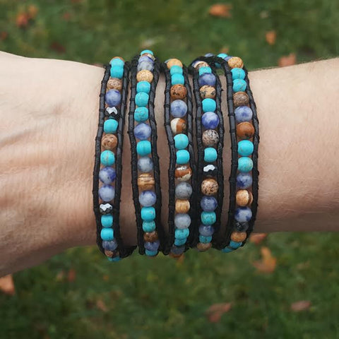 Turquoise, Sodalite, Hematite and Jasper on Black Leather Wrap Bracelet