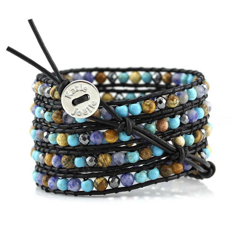 Image of Turquoise, Sodalite, Hematite and Jasper on Black Leather Wrap Bracelet