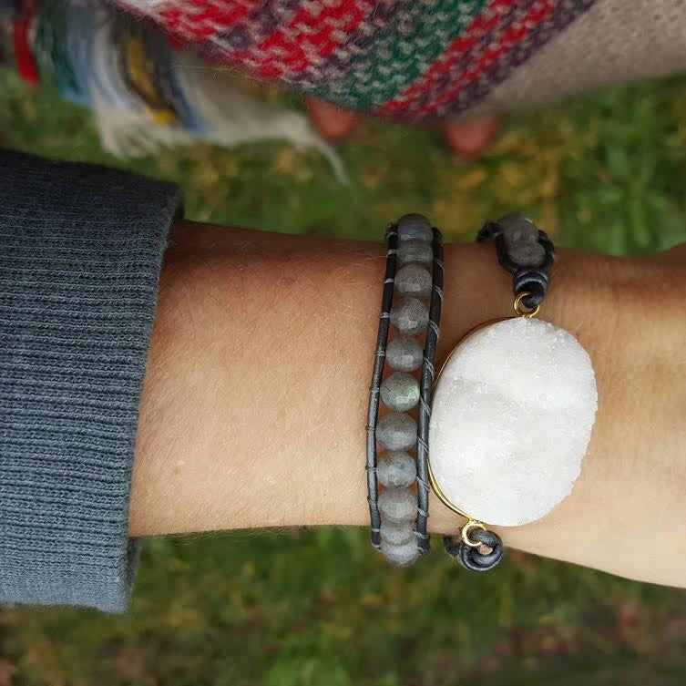 White Druzy and Labradorite Double Wrap Bracelet on Metallic Grey Leather