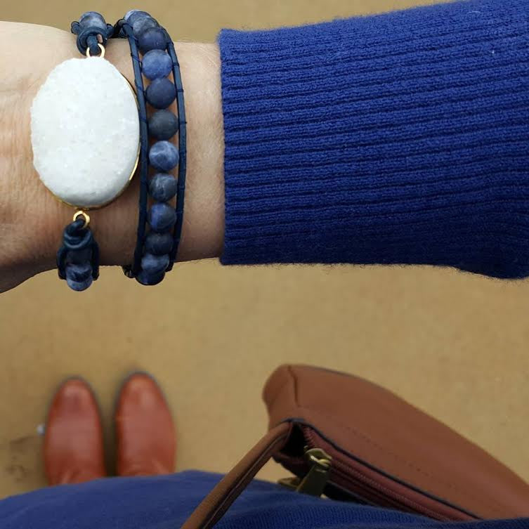 White Druzy and Frosted Sodalite Double Wrap Bracelet on Navy Blue Leather