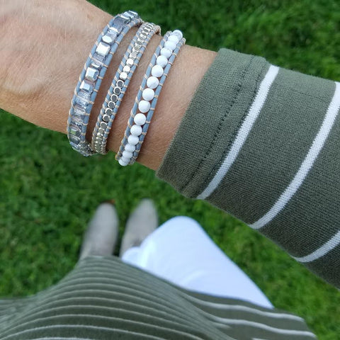 White Howlite, Silver Nuggets, and Square Cut Glass Crystals on Grey Leather Wrap Bracelet