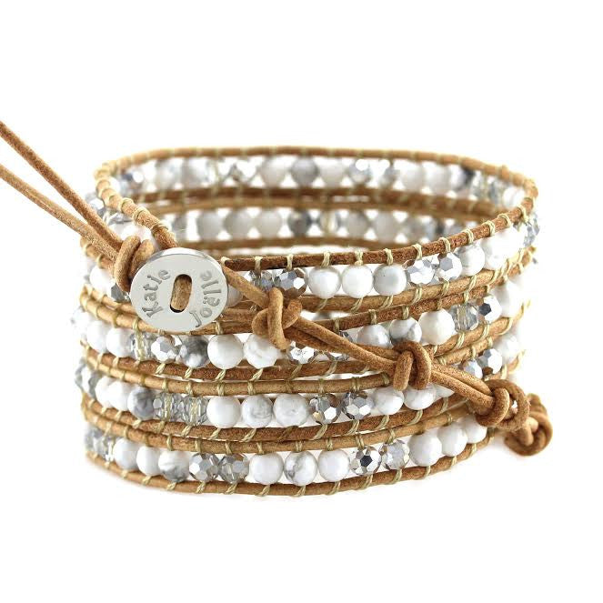 White Howlite and Crystals on Natural Leather Wrap Bracelet