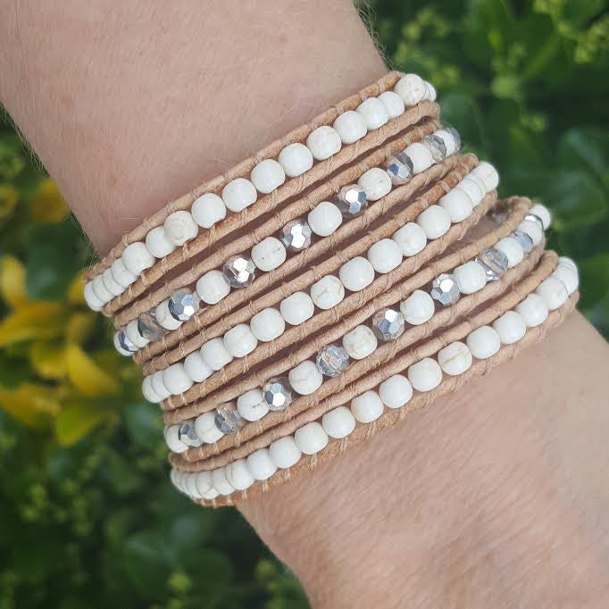 Ivory White Howlite on Natural Leather Wrap Bracelet