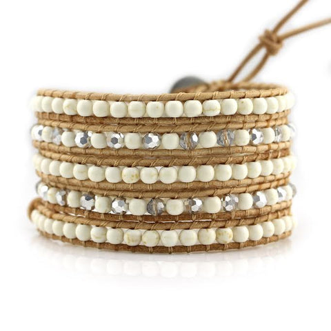 Image of Ivory White Howlite on Natural Leather Wrap Bracelet