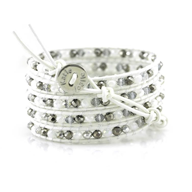 White and Silver Mix Crystals on White Leather Wrap Bracelet