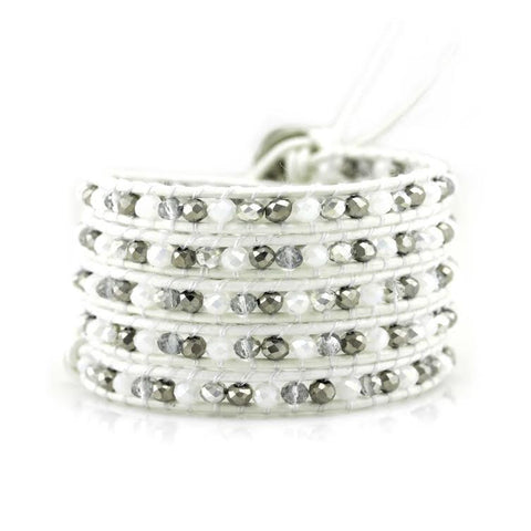 Image of White and Silver Mix Crystals on White Leather Wrap Bracelet