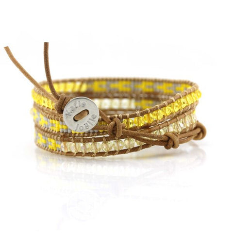 Image of Yellow and Blue Crystals with Miyuki Glass Seed Beads on Natural Leather Wrap Bracelet