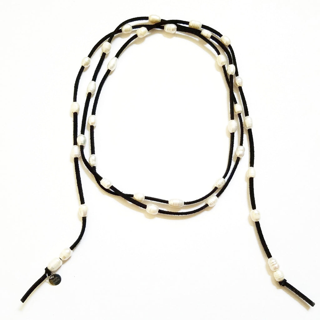 Black Leather and Freshwater Pearl Wrap Necklace