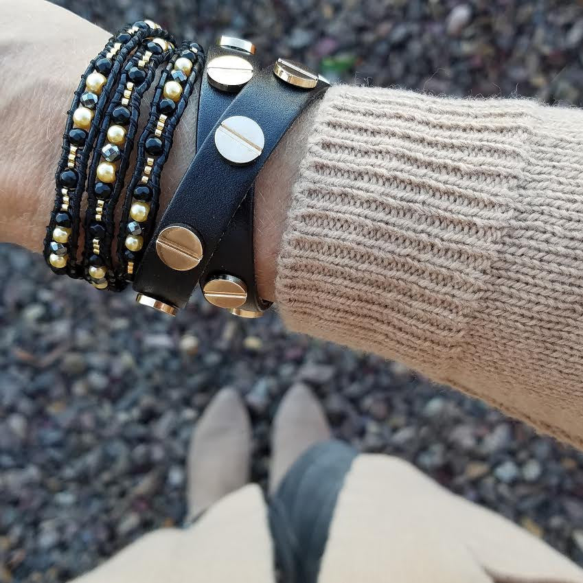 Black Diamond and Gold Pearl Scalloped Wrap Bracelet on Black Leather