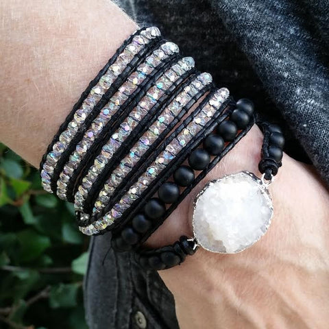 Image of Clear Crystals on Black Leather Wrap Bracelet