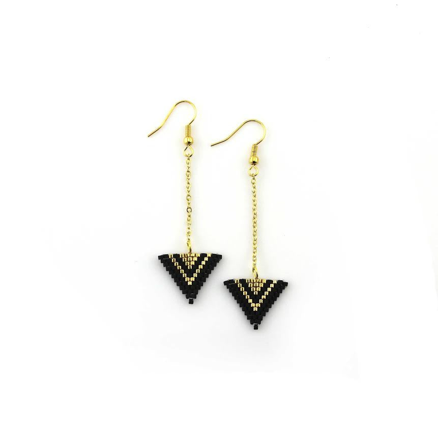 Black and Gold Miyuki Triangle Dangle Earrings