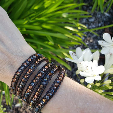 Image of Bronze Dorado Crystals on Dark Brown Leather Wrap Bracelet