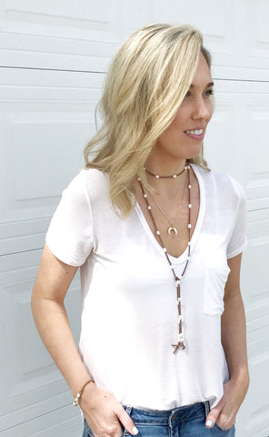 Image of Natural Leather and Freshwater Pearl Wrap Necklace