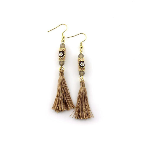 Image of Brown and Gold Miyuki Tassel Earrings
