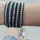 Clear Crystals on Black Leather Wrap Bracelet